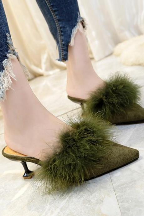 Pure Color PU Stiletto Heel Pionted Toe Slipper Sandals