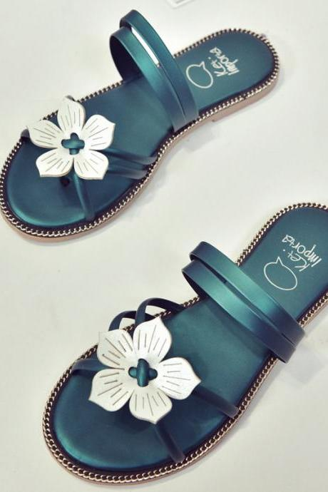 PU Pure Color Round Toe Flower Flat Sandals