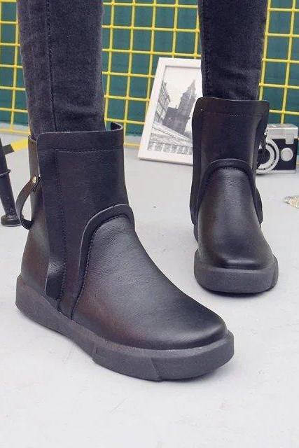 Pure Color Zipper PU Flat Round Toe Short Boots