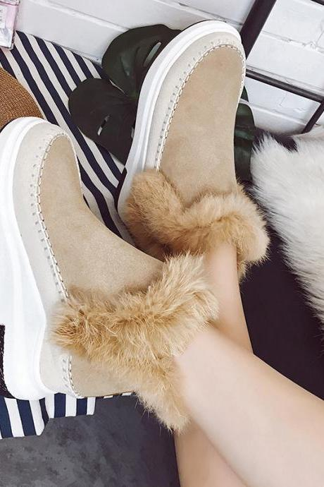 Suede Patchwork Flat Round Toe Short Boots