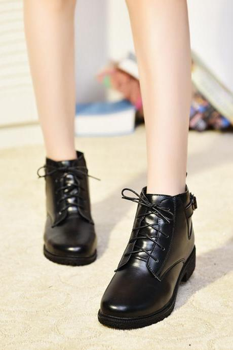 Pure Color PU Pure Color Chunky Heel Round Toe Lace-up Short Boots