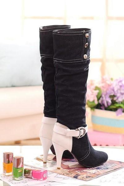 Cloth Stiletto Heel Patchwork Round Toe Long Boots