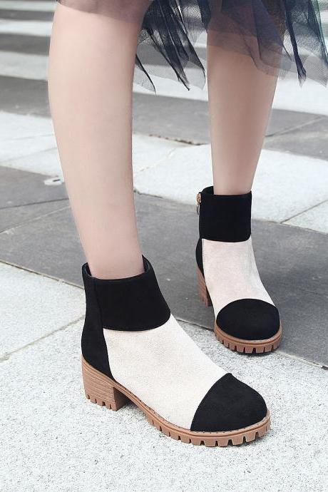 Suede Chunky Heel Patchwork Round Toe Short Boots