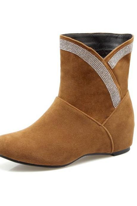 Suede Slope Heel Round Toe Pure Color Short Boots