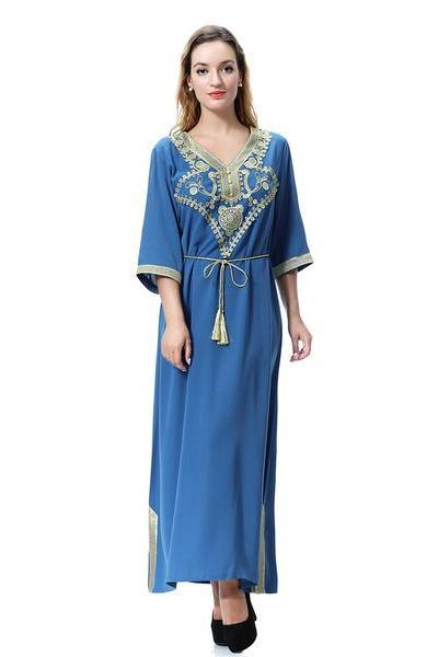 Long Sleeve Loose Arabia style Printing Dress