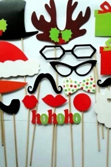 New Fashion 17Pcs And 47Pcs DIY Props Wedding Moustache Lips Christmas Party Mask