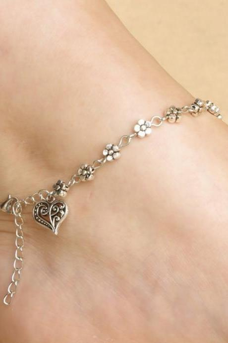Tibetan Silver Hollow Out Plum Flower Anklets