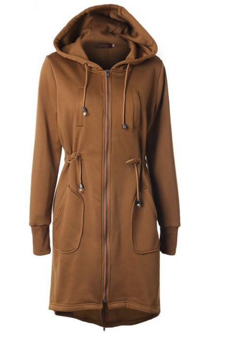 Drawstring Pockets Slim Zipper Long Hooded Oversize Coat