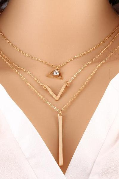 Fashion Crystal Sequins Multilayer Necklace