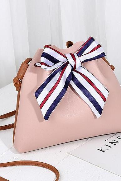 Bowknot Silk Scarf Decoration Women Handbag