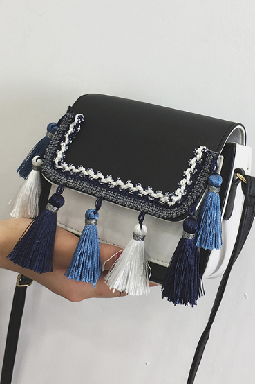 Trendy Color Block Tassel Crossbody Bag