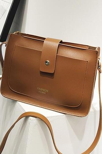 Simple Plain Soft PU Crossbody Bag