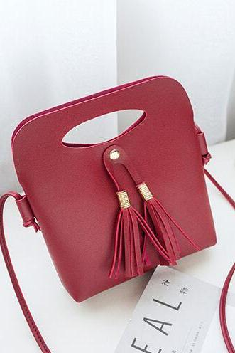 Bucket Shape Candy Color Tassel Crossbody Bag
