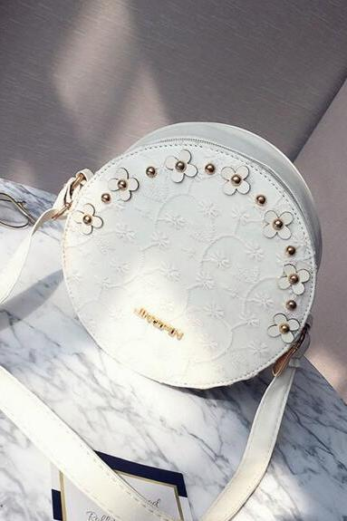 Circular Floral Adornment Mini Crossbody Bag