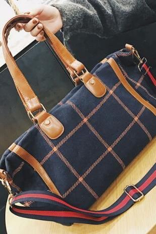 Classic Plaid Pattern Women Shoulder Bag