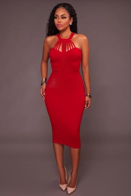 Bandage Hollow Out Halter Mini Bodycon Party Dress
