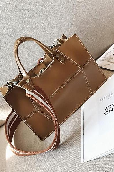 Vintage Style Solid Color Crossbody Bag