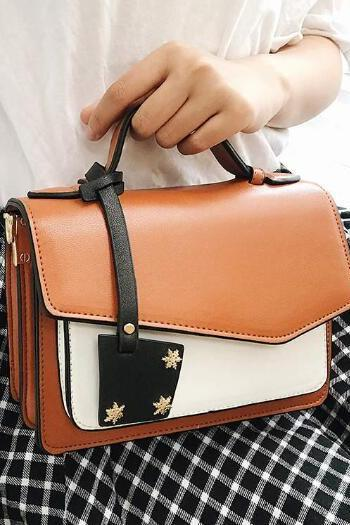 Retro Color Block Square Crossbody Bag