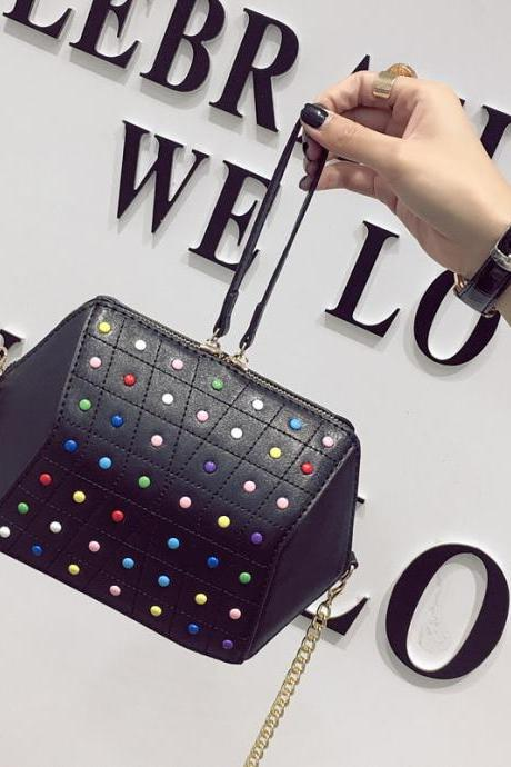 Korean Style Color Rivet Chain Crossbody Bag