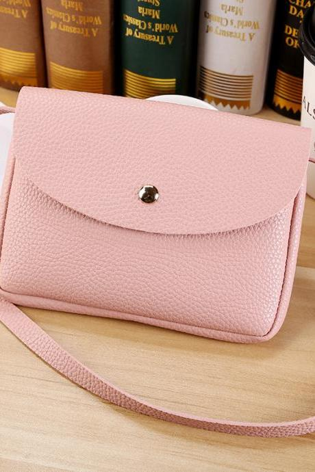 Simple Candy Color Soft PU Crossbody Bag