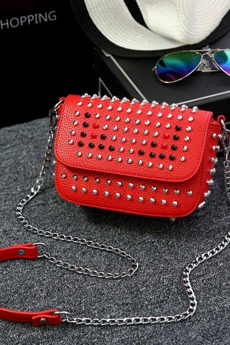 Fashion Colorful Rivet Adornment Crossbody Bag