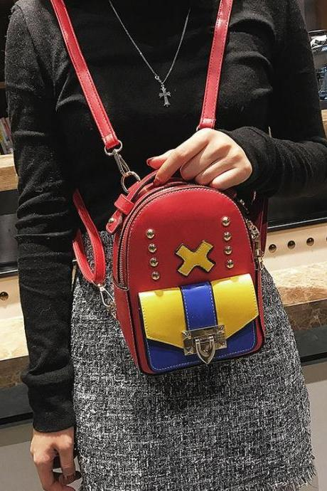 Personality Color Block Rivet Decoration Zipper Backpack