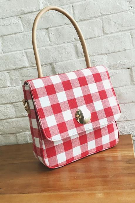 Simple Plaid Pattern Women Shoulder Bag