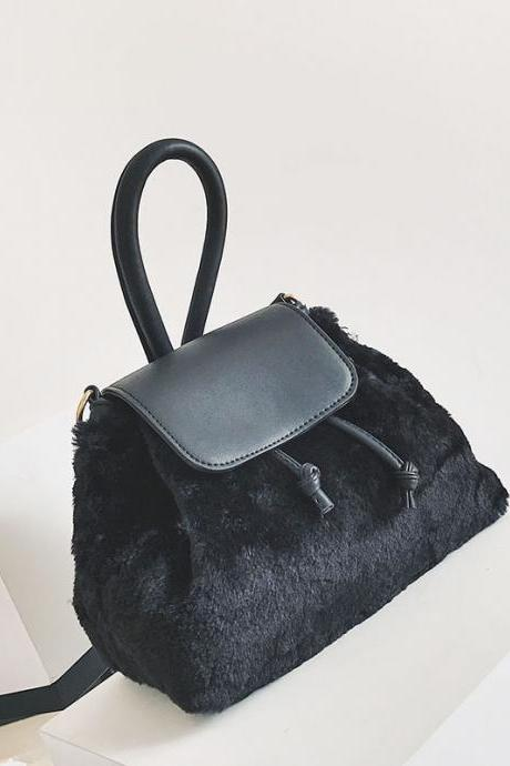 Soft Plush Drawstring Crossbody Bag