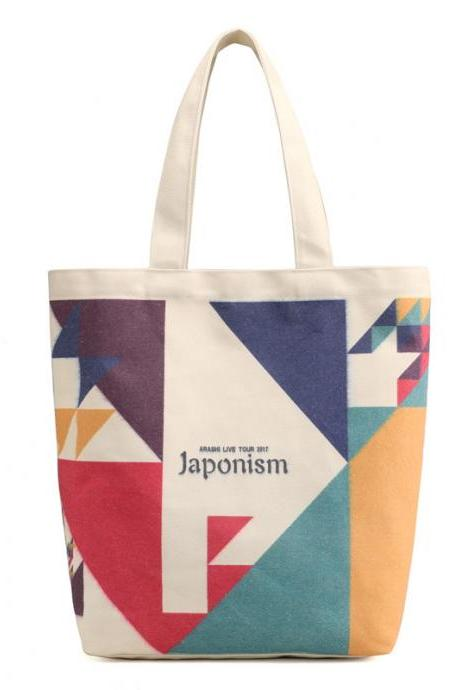 Casual Geometric Pattern Canvas Shoulder Bag