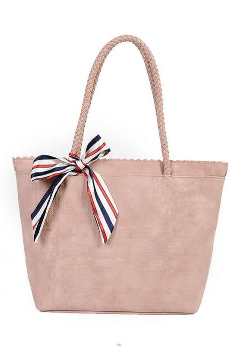 Faux Leather Tote Bag Featuring Striped Bow Accent Embellishment and Scallop Trimmed