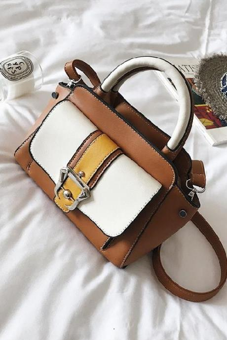 Casual Belt-Decorated Color Block Women Satchel