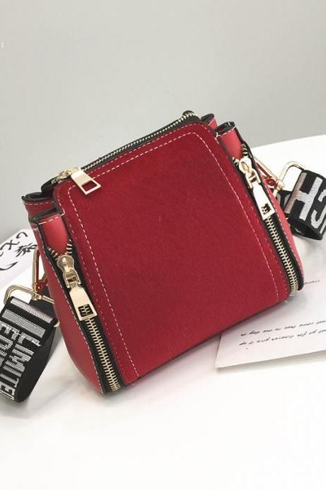 Casual Wide Shoulder Straps Double Zipper Cross Body Bag