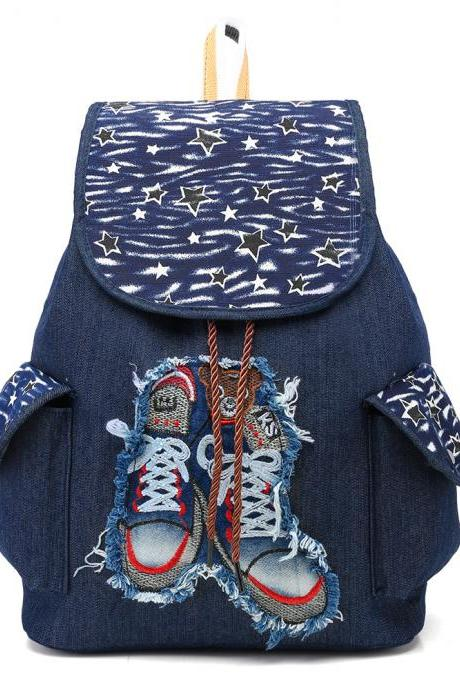 Denim Backpack With Cool 3D Sneakers Print