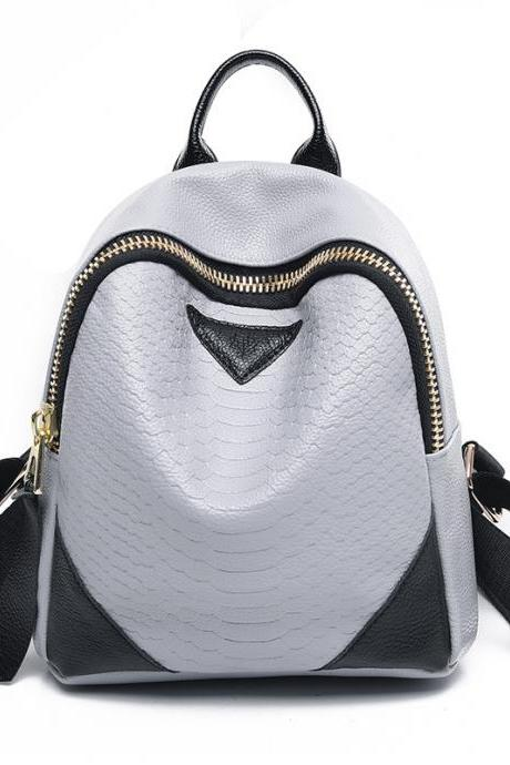 Fashion Croco-Embossed Zipper Backpack
