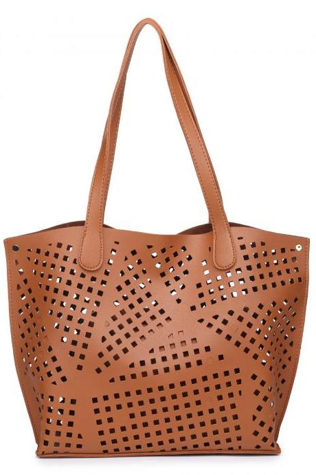 Casual Hollow-Out PU Tote Bag (2 Bags)