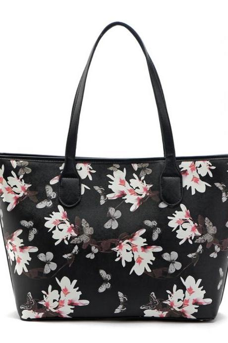 Floral Print Faux Leather Tote Bag