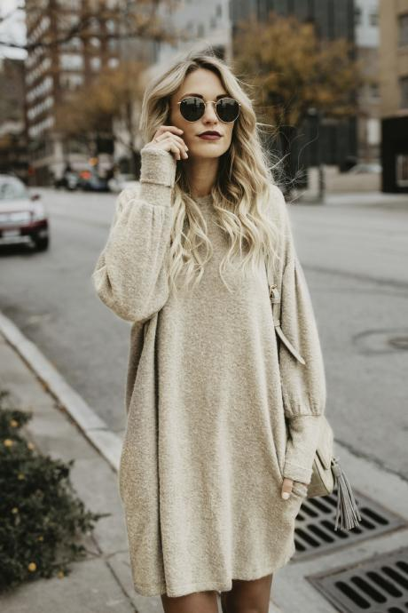 Solid Color Long Batwing Sleeves Long Loose Pullover Sweater