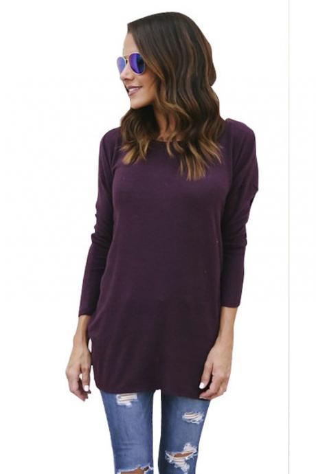 Pure Color Backless Long Sleeves Scoop Long Sweater