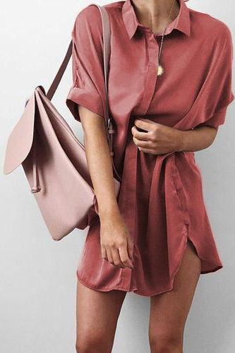 Collared Neck Short Sleeves Button Down Front Short Shirt Dress