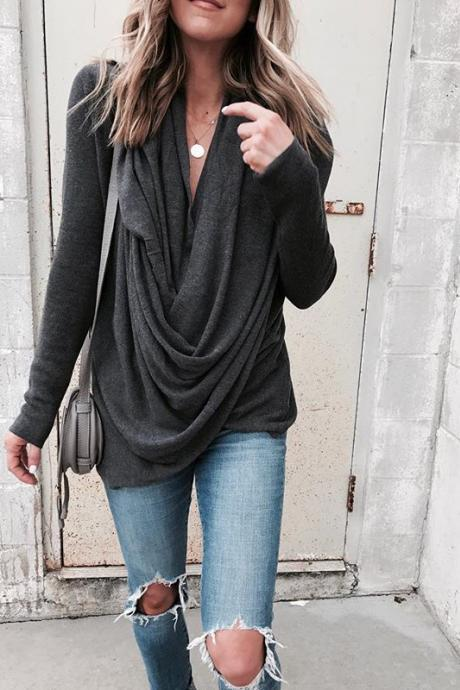 Irregular V-neck Drapped Long Sleeves Loose Long Blouse