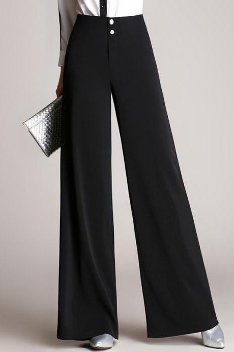 High Waist Loose Solid Color Long Bell-bottomed Pants