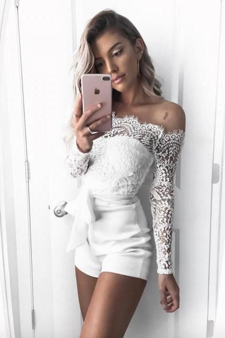 Lace Patchwork Off Shoulder Strap Belt Short Jumpsuits