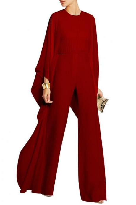 Loose Long Sleeves Scoop High Waist Chiffon Long Wide Leg Jumpsuits