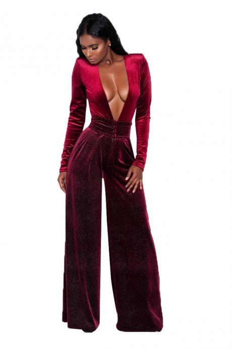 Loose Long Sleeves Deep V-neck Long Wide-leg Jumpsuits