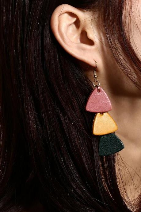 Personality Candy Color Leather Multielement Pearl Earrings