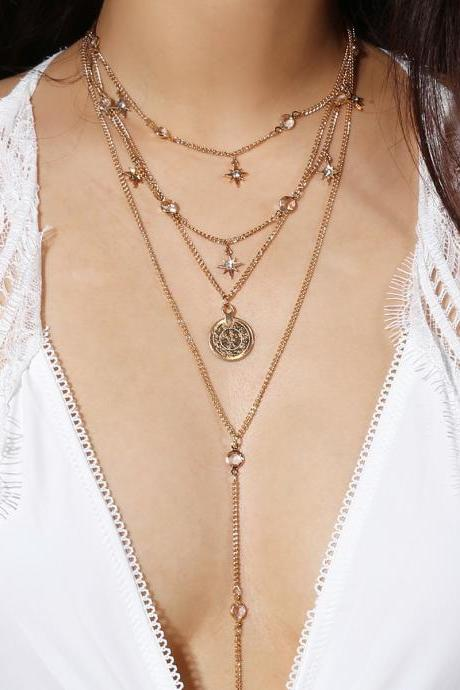 Crystal Star Element Multilayer Clavicle Necklace