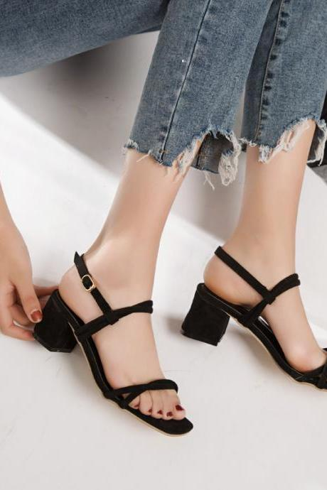 Square Open-Toe Chunky Heels with Slingback Ankle Strap
