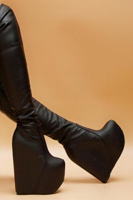 PU Inside Heel Platform Wedge Round Toe Over the Knee Boots