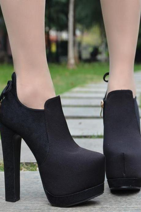 Zipper Rivets Decorate Platform Super High Heels Ankle Boots