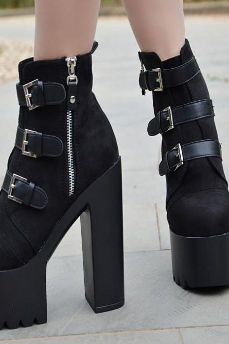 Straps Hasp Side Zipper Platform Super High Heels Ankle Boots